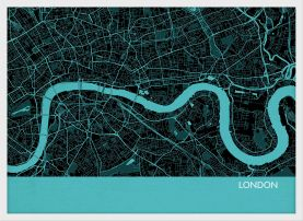 A4 London City Street Map Print Turquoise (Wood Frame - White)