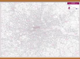 London Postcode District Wall Map (within M25) (Wooden hanging bars)