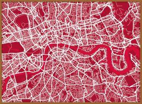 Large London Street Art Map (Wood Frame - Teak)