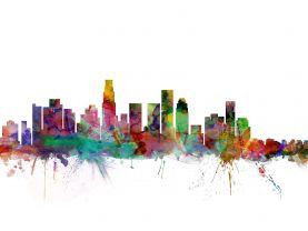 Los Angeles City Watercolour Skyline