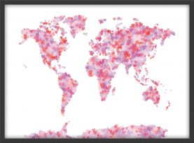 Small Love Hearts Map of the World (Wood Frame - Black)