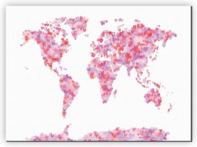 Large Love Hearts Map of the World (Canvas)