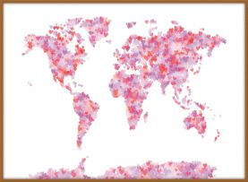 Large Love Hearts Map of the World (Wood Frame - Teak)