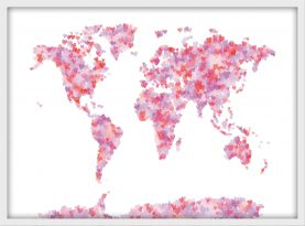 Small Love Hearts Map of the World (Wood Frame - White)