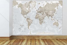 Giant World Map Mural - Neutral (Mural)