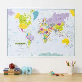 Glow in the Dark Children's World Map (Silk Art Paper)