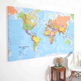 Huge World Wall Map Political (Canvas)