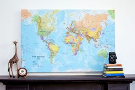 Large World Wall Map Political (Canvas)
