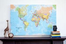 Medium World Wall Map Political (Canvas)