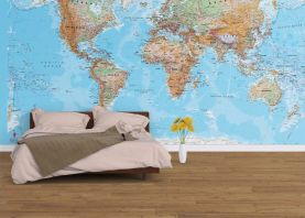 Physical World Map Wallpaper