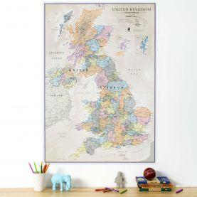 Medium UK Classic Wall Map (Paper Single Side Lamination)
