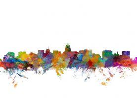 Madison Wisconsin Watercolour Skyline