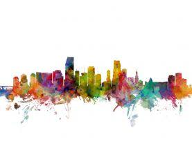 Miami Florida Watercolour Skyline