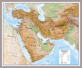 Medium Middle East Wall Map Physical (Pinboard & framed - Silver)