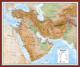 Medium Middle East Wall Map Physical (Pinboard & framed - Dark Oak)