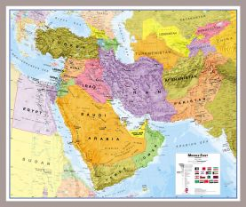 Medium Middle East Wall Map Political (Pinboard & framed - Silver)