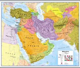 Large Middle East Wall Map Political (Hanging bars)