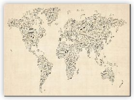 Large Music Notes World Map of the World (Canvas)