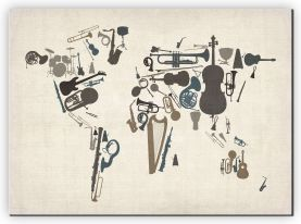 Large Musical Instruments Map of the World  (Canvas)