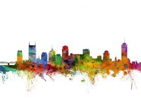Nashville Tennessee Watercolour Skyline