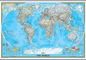 National Geographic World Classic Map (Hanging bars)
