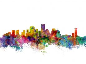 New Orleans Louisiana Watercolour Skyline