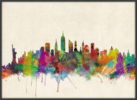 Large New York City Skyline (Wood Frame - Black)