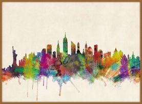 Large New York City Skyline (Wood Frame - Teak)