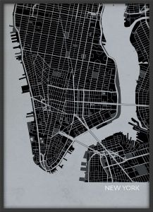 A4 New York City Street Map Print Charcoal (Wood Frame - Black)