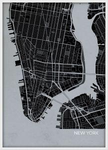 A4 New York City Street Map Print Charcoal (Wood Frame - White)