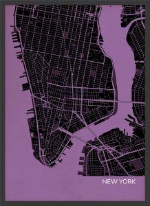 A4 New York City Street Map Print Mauve (Wood Frame - Black)