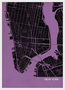 A4 New York City Street Map Print Mauve (Wood Frame - White)