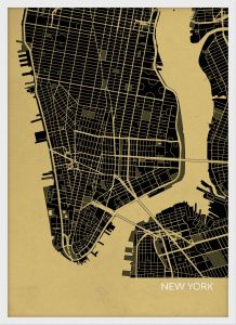 A4 New York City Street Map Print Straw (Wood Frame - White)