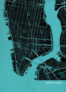 New York City Street Map Print Turquoise