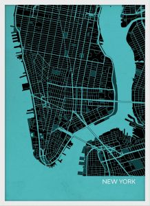 A4 New York City Street Map Print Turquoise (Wood Frame - White)