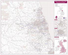 Newcastle upon Tyne, Sunderland and Durham Postcode Sector Map (Raster digital)