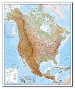 Large North America Wall Map Physical (Canvas)