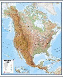 Large North America Wall Map Physical (Hanging bars)