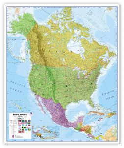 Large North America Wall Map Political (Canvas)