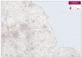 Northern England and the Midlands Postcode District Map (Pinboard)