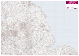 Northern England and the Midlands Postcode District Map (Raster digital)