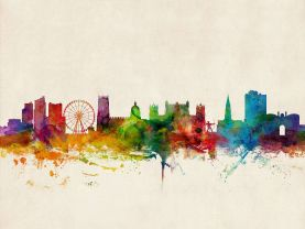 Nottingham England Watercolour Skyline