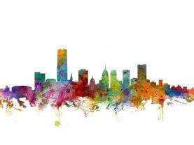 Oklahoma City Watercolour Skyline