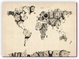 Extra Small Old Clocks Map of the World (Canvas)