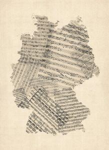 Old Sheet Music Art Map of Germany