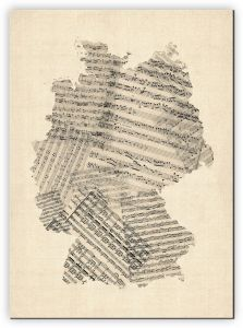 Extra Small Old Sheet Music Art Map of Germany (Canvas)