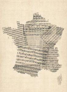 Old Sheet Music Map of France