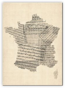 Large Old Sheet Music Map of France (Canvas)