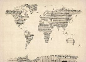 Old Sheet Music Map of the World