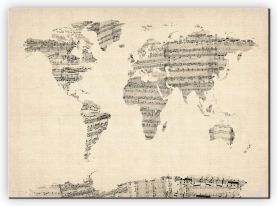 Extra Small Old Sheet Music Map of the World (Canvas)